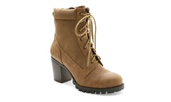 XOXO Women's Clove Lug Bottom Lace-Up Boots - Brown - Size: 9