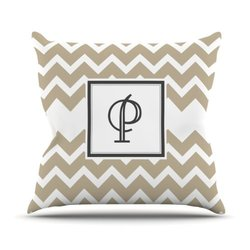 "Tan Chevron Monogram Letter ""P"" 18""x18"" Outdoor Throw Pillow - Tan/White"
