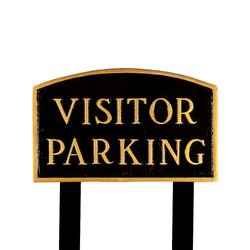 Montague Metal Standard Black & Gold Visitor Parking Arch Statement Plaque