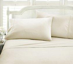 Merit Linens Chevron Bed Sheet Set: Cream/King (4-Piece)