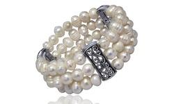 18KT White Gold Plated Genuine Triple Strand Freshwater Pearl Bracelet