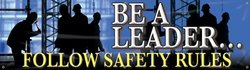 """Accuform Signs MBR813 Motivational Safety Banner, Legend """"BE A LEADER...FOLLOW SAFETY RULES"""", 28"""" Length x 8-ft Width, Reinforced Vinyl with Metal Grommets"""