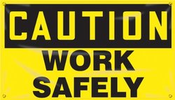 "Accuform Signs MBR403 Motivational Safety Banner, Legend ""CAUTION WORK SAFELY"", 28"" Length x 4-ft Width, Reinforced Vinyl with Metal Grommets"