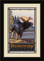 Northwest Art Mall PAL-0200 FGDM COM Breckenridge Colorado Moose Framed Wall Art by Artist Paul A. Lanquist, 16 by 22-Inch