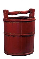 Antique Revival Wooden Soy Sauce Bucket - Red