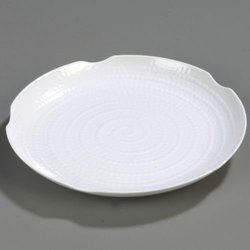 White Terra Displayware Round Melamine Textured Platter - 1 each