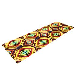 "KESS InHouse Anne LaBrie Diamond Light Exercise Yoga Mat, Yellow Red, 72"" by 24"""