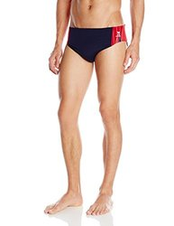 TYR SPORT Men's Phoenix Splice Racer Swimsuit (Navy/Red, Size 38)