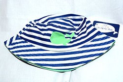 Boys Bucket Hat Strip Hat with Whale on front - White/Navy - Size: 4-6X