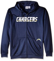 NFL San Diego Chargers Men's Full Zip Poly HD Sweatshirt, 2X/Tall, Navy