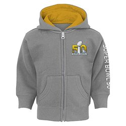 NFL Super Bowl 50 Boys Full Zip Hoodie, Heather Grey, 3T