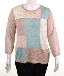Alfred Dunner Women's Tivoli Garden Sequins Sweater - Mint/Taupe - Size: L