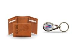 NFL Denver Broncos Leather Wallet & Keychain Gift Set
