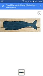 """Target Wood Plank with Metal Whale Cutout - Size: 30""""x10"""""""