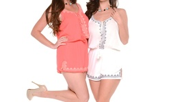 Women's Contemporary Summertime Rompers: Coral Embroidered - Large/xl