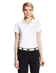 Callaway Women's Solid Double Knit Short Sleeve Polo Shirt, Bright White, X-Large