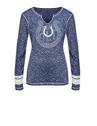 VF LSG NFL Women's Split Crew Neck Tee - Blue Staccato/White - Size: XL