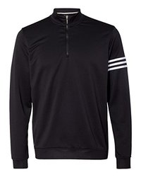 adidas A190 Men's ClimaLite 3-Stripes Pullover - Black & White, Large