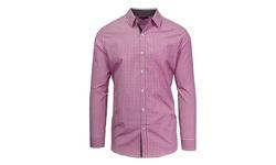 Harvic Men's Long Sleeve Button-Down Shirts - Purple/White - Size: 5XL