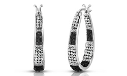 Swarovski Elements 18K White Gold Plated Crystal Striped Hoop Earrings