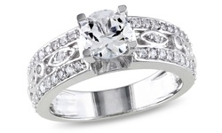 7/8 CT TGW Created White Sapphire Silver Engagement Ring