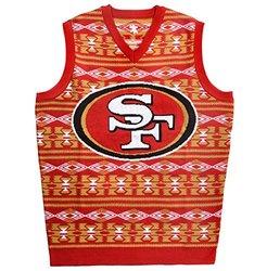 Klew Men's NFL San Francisco 49ers Ugly Sweater Vest - Red - Size: 2XL