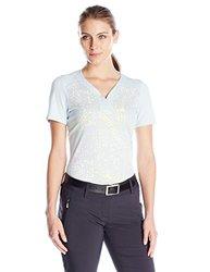 adidas Women's Golf Tour Bonded Mesh Polo T- Shirt - Soft Blue - Sz: Large