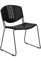 Flash Furniture Hercules 400lb Capacity Plastic Stack Chair - Black