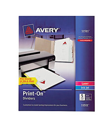 Avery Print On Presentation Dividers 5 Tabs 1 Set - White