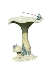 SPI Home Fishing Frog On Mushroom Bird Statue - Aluminium