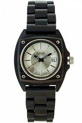 Tense Unisex Sandalwood Wood Wrist Watch - Black/Silver
