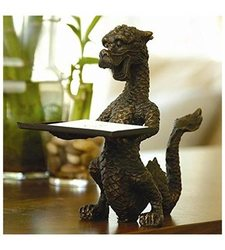 "SPI 6 1/4"" Tall Iron Dragon Business Card Holder with Bronze Finish"