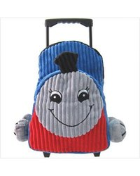 Kids' Rolling Backpack with Train Stuffie - Blue