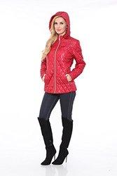 White Mark Women's Puffer Coat - Red - Large