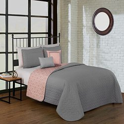 5 Piece Reversible Quilt Sets: Piper King/grey
