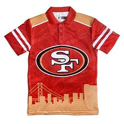 NFL Men's San Francisco 49ers Polyester Thematic Polo Shirt - Red/X-Large