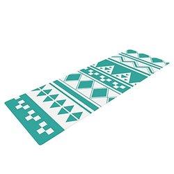 "72"" x 24"" Belinda Gilles Turquoise Aztec Exercise Yoga Mat - Teal Green"