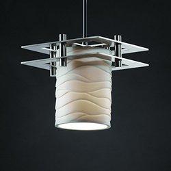Limoges 1-Light Pendant with Waves Translucent Porcelain Shade