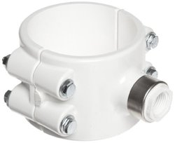 "Spears 467E-SR Series PVC Clamp-On Saddle with EPDM O-Ring, Zink Bolt, Stainless Steel Reinforced Outlet, Schedule 40, White, 8"" IPS OD x 2"" NPT Female"