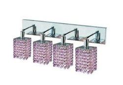 Elegant Lighting 1384W-O-S-RO/RC Mini 13.5-Inch High 4-Light Wall Sconce, Chrome Finish with Rosaline (Pink) Royal Cut RC Crystal