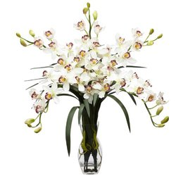 Nearly Natural 1184-WH Cymbidium Orchid Silk Flower Arrangement, White