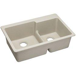 Elkay Gourmet E-Granite Double Bowl Top Mount Sink (ELGLBO3322BQ0)