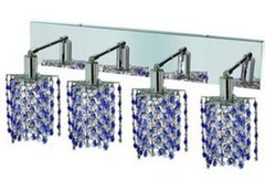 Elegant Lighting 1384W-O-P-SA/RC Mini 13.5-Inch High 4-Light Wall Sconce, Chrome Finish with Sapphire (Blue) Royal Cut RC Crystal