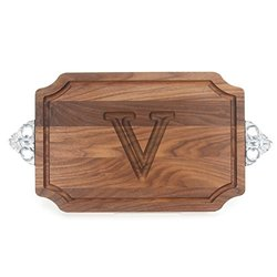 "BigWood Boards W310-SC-V Cutting Board with Handle, Personalized Cutting Board, Large Cheese Board, Walnut Wood Serving Tray with Handle, ""V"""