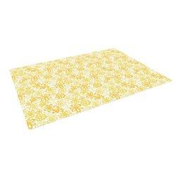 """Kess InHouse Julie Hamilton """"Paper Daisy"""" Yellow Outdoor Floor Mat/Rug, 5 by 7-Feet"""