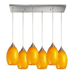 "Elk 30"" x 9"" Mulinello 6-Light Pendant w/ Canary Glass Shad - Satin Nickel"