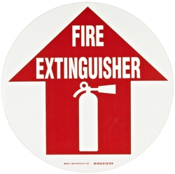 "Brady 49064 17"" Diameter, B-819 Vinyl Film With Clear, Matte Anti-Slip Overlaminate, Red On White Color Floor Safety Sign, Legend ""Fire Extinguisher (With Picto)"""
