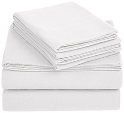 AmazonBasics Solid Lightweight Flannel Sheet Set - Queen - Size:  White