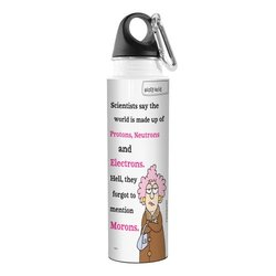 Tree-Free Greetings VB47775 Aunty Acid Artful Traveler Stainless Steel Water Bottle, 18-Ounce, Protons, Neutrons, Morons