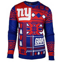 NFL New York Giants Patches Ugly Sweater, Blue, Small